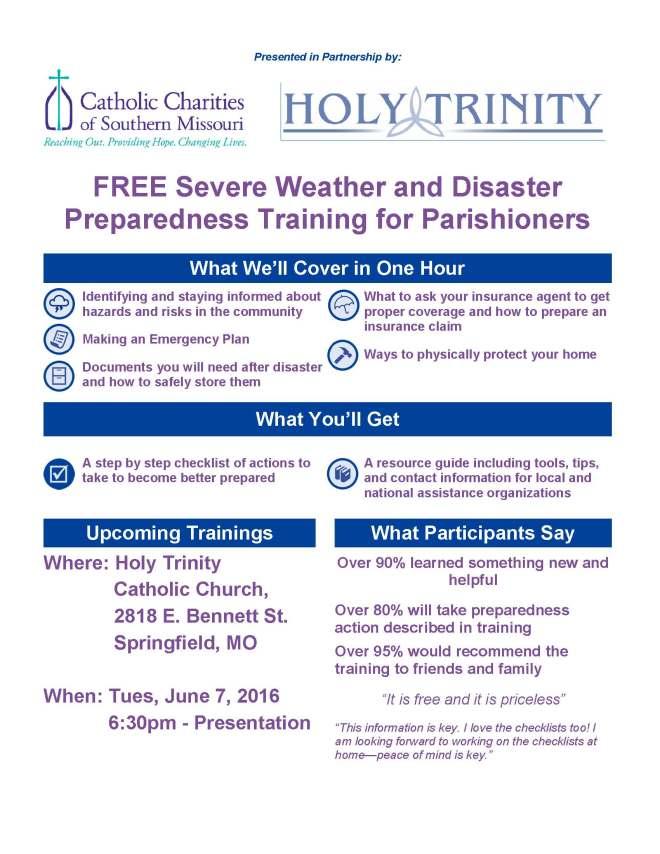 Flyer--Parish Disaster Basic Training_Springfield_5-18-16